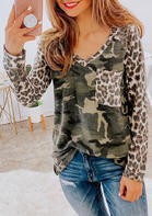 Camouflage Leopard Pocket Splicing Long Sleeve Blouse