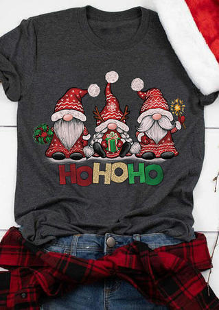 Christmas Gnomies Ho Ho Ho T-Shirt Tee - Dark Grey