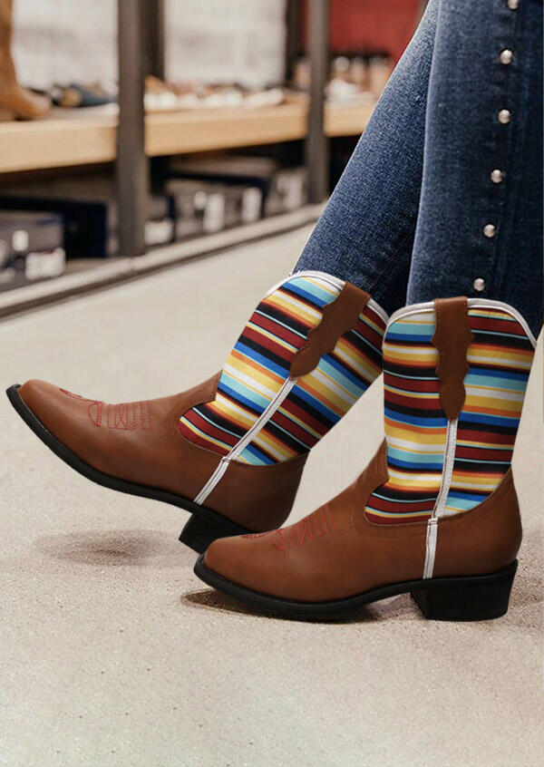 Serape Striped Splicing Pointed Toe Ankle Boots - Brown