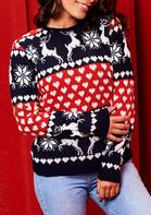 Christmas Reindeer Snowflake Heart Blouse