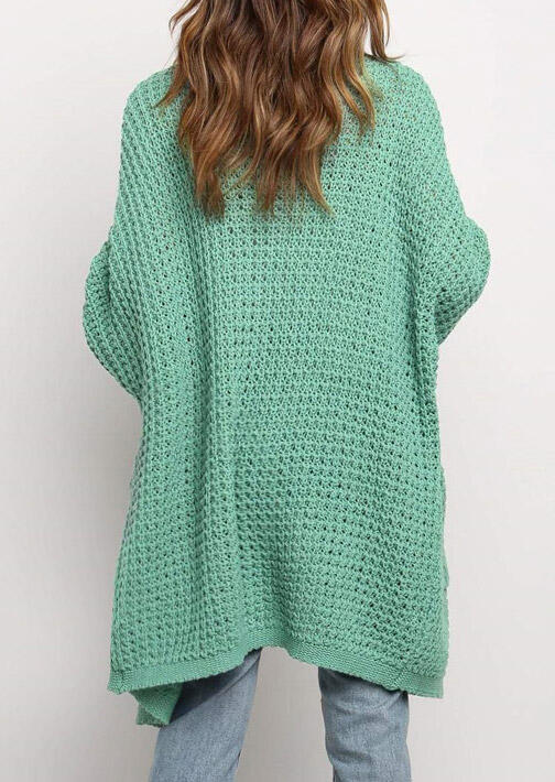 Knitted Pocket Open Front Sweater Long Cardigan - Green