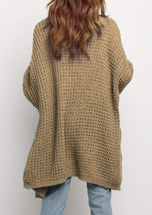 Knitted Pocket Open Front Sweater Long Cardigan - Khaki