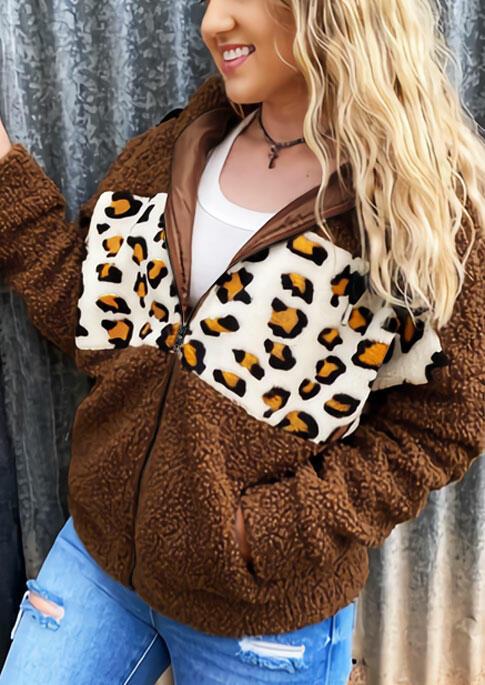 Fairyseason coupon: Leopard Splicing Pocket Zipper Drawstring Fleece Coat - Brown