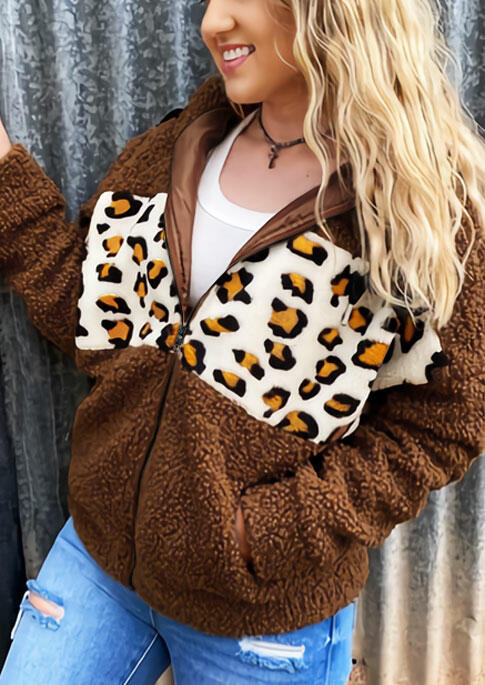 Leopard Splicing Pocket Zipper Drawstring Fleece Coat - Brown