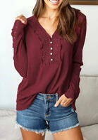 Lace Splicing Button V-Neck Blouse