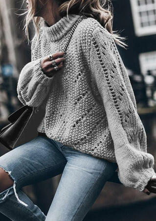 Knitted Turtleneck Long Sleeve Sweater - Gray