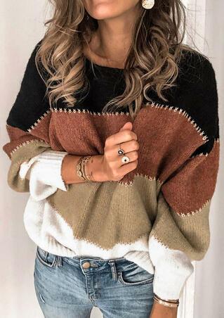 Color Block Splicing O-Neck Sweater - Black