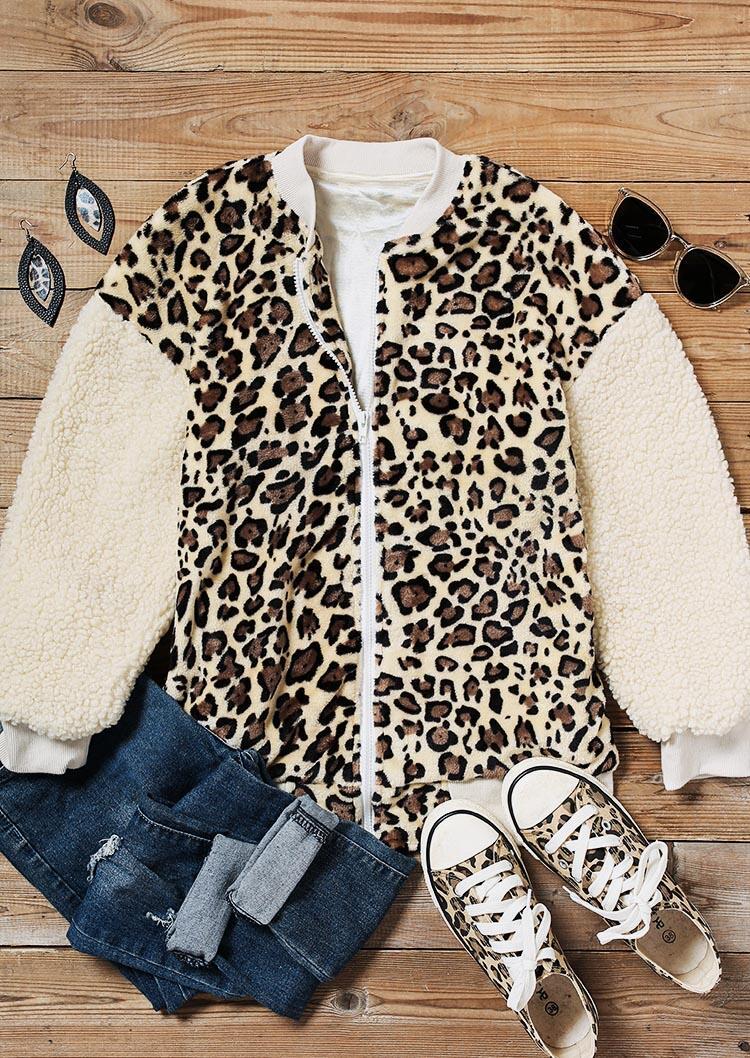 Leopard Splicing Zipper Pocket Fleece Casual Coat