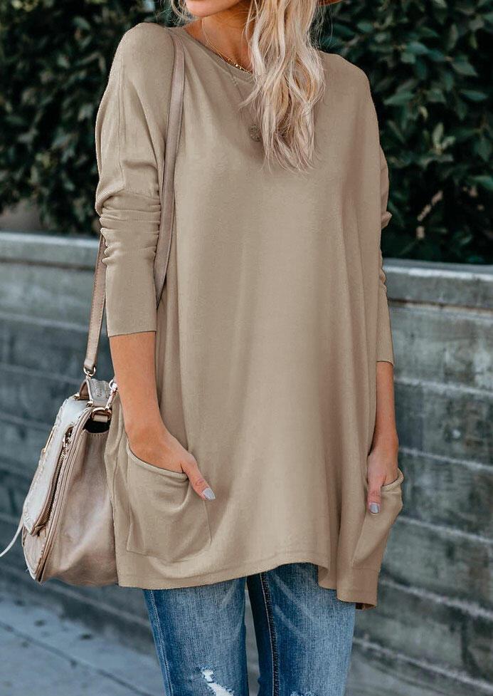 Pocket O-Neck Long Sleeve Blouse - Khaki