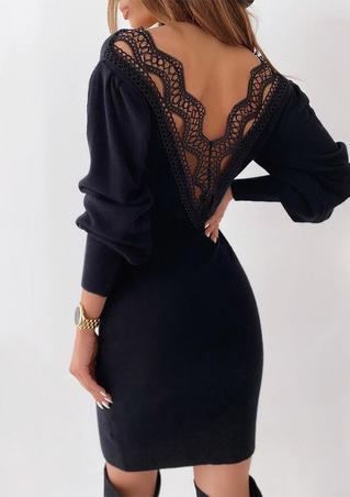 Lace Splicing Open Back V-Neck Bodycon Dress - Black