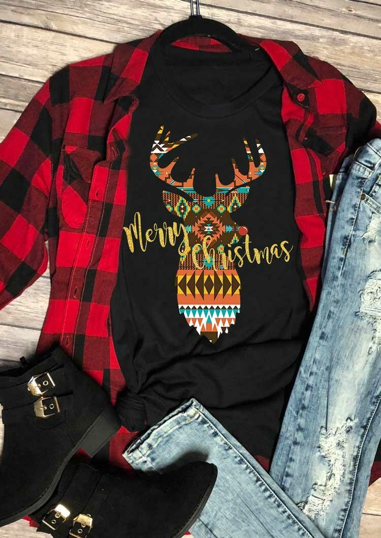 Merry Christmas Aztec Geometric Reindeer T-Shirt Tee - Black