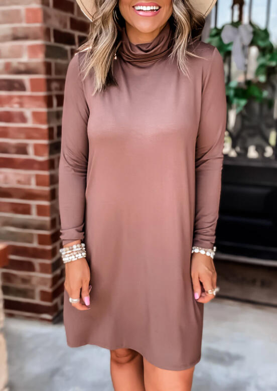 Long Sleeve Cowl Neck Mini Dress - Brick Red