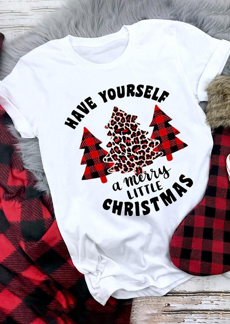 Fairyseason coupon: Have Yourself A Merry Little Christmas Plaid Leopard Tree T-Shirt Tee - White