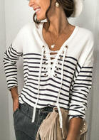 Striped Lace Up V-Neck Long Sleeve Blouse