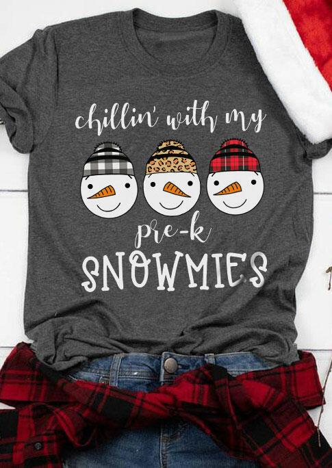 Christmas Chillin' with My Snowmies Buffalo Plaid Leopard T-Shirt Tee - Gray