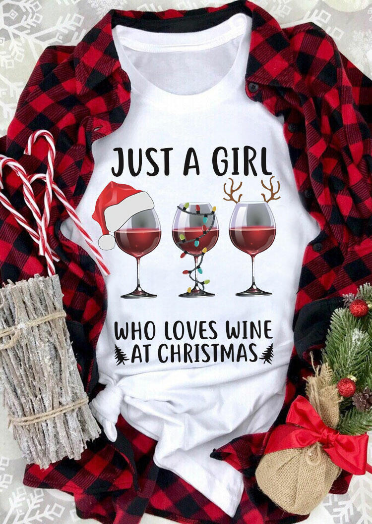 Fairyseason coupon: Just A Girl Who Loves Wine At Christmas T-Shirt Tee - White