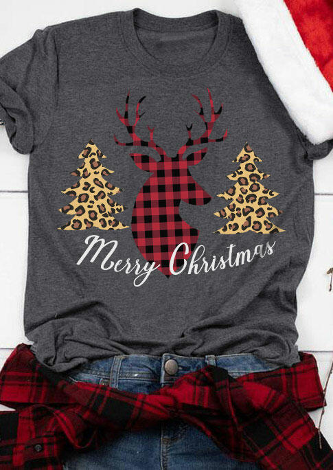 Fairyseason coupon: Merry Christmas Leopard Trees Buffalo Plaid Reindeer T-Shirt Tee - Dark Grey