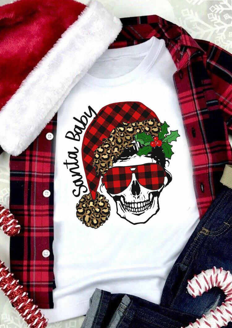 Christmas Santa Baby Leopard Plaid Skull T-Shirt Tee - White