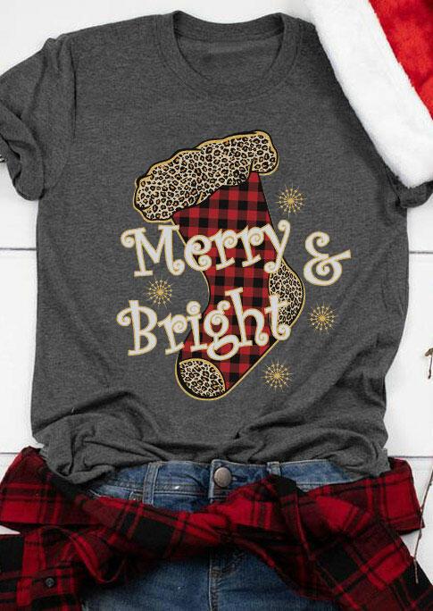 Fairyseason coupon: Christmas Plaid Leopard Merry & Bright Sock T-Shirt Tee - Dark Grey