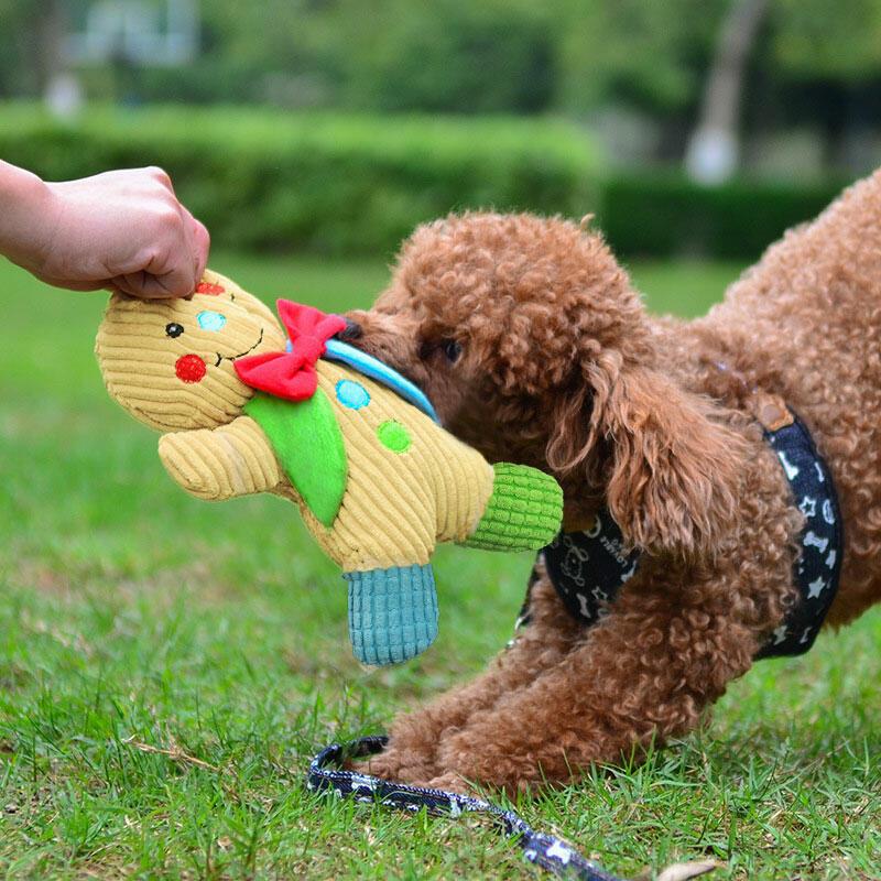 Christmas Plush Gingerbread Man Pet Chew Squeaker Toy