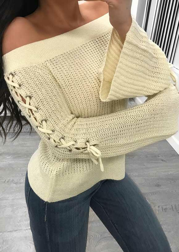 Lace Up Knitted Flare Sleeve Sweater - Apricot