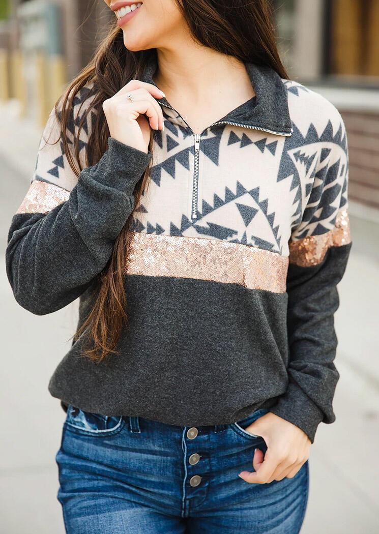 Aztec Geometric Sequined Zipper Collar Sweatshirt - Dark Grey