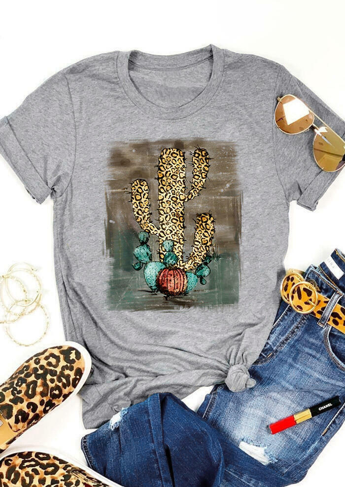 Leopard Printed Cactus T-Shirt Tee - Flesh