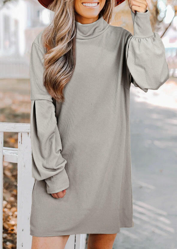 Ruffled Lantern Sleeve Turtleneck Mini Dress - Light Grey