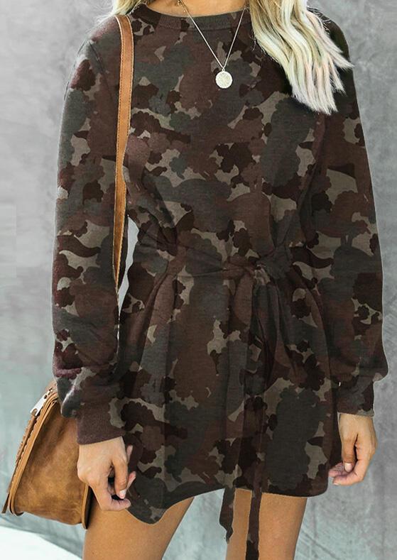 Fairyseason coupon: Camouflage Tie Mini Sweatshirt Dress Without Necklace