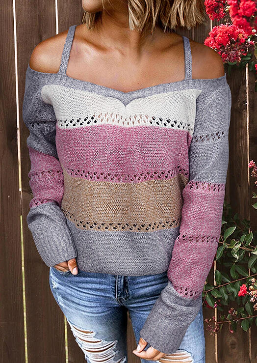 Color Block Cold Shoulder Knitted Sweater