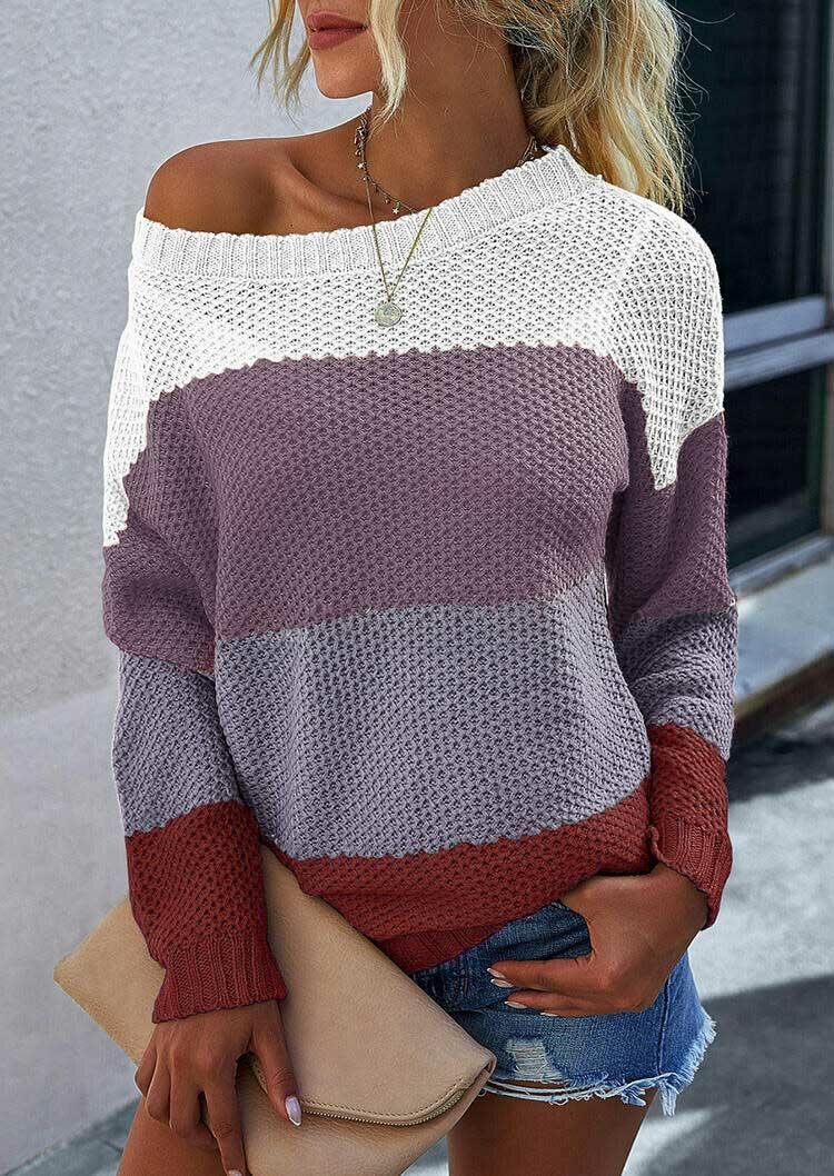 Color Block O-Neck Knitted Sweater