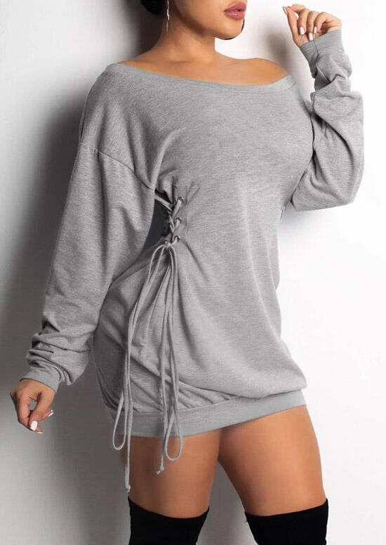 Lace Up Long Sleeve Loose Mini Dress - Gray