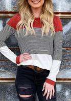 Color Block Striped Splicing Long Sleeve Blouse