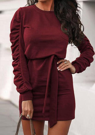 Ruffled O-Neck Pocket Puff Sleeve Bodycon Dress - Burgundy