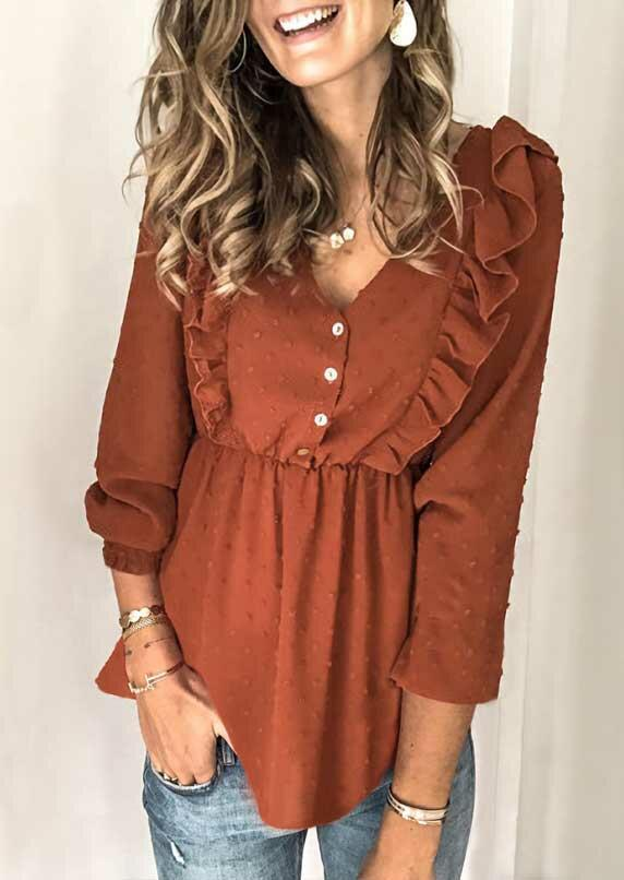 Fairyseason coupon: Ruffled Dotted Swiss Button V-Neck Blouse - Brown