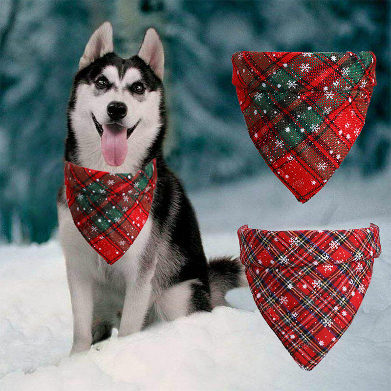 Christmas Plaid Snowflake Adjustable Pet Dog Bandana