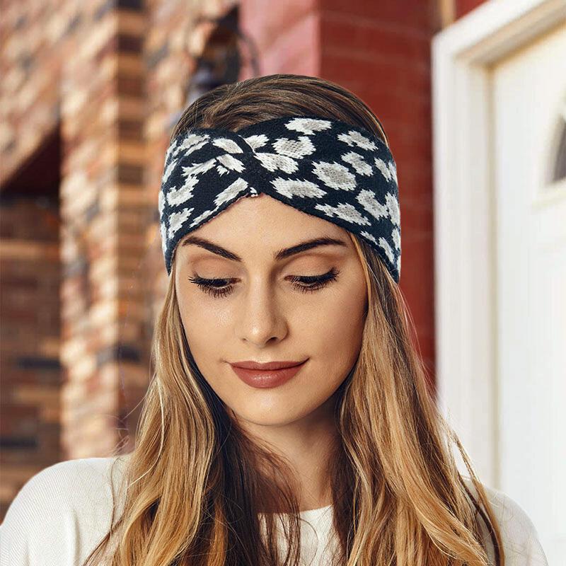 Leopard Twist Knitted Wide Headband