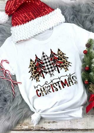 Merry Christmas Leopard Plaid Tree T-Shirt Tee - White