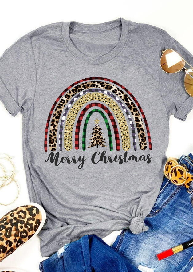 Fairyseason coupon: Merry Christmas Leopard Plaid Tree Rainbow T-Shirt Tee - Gray