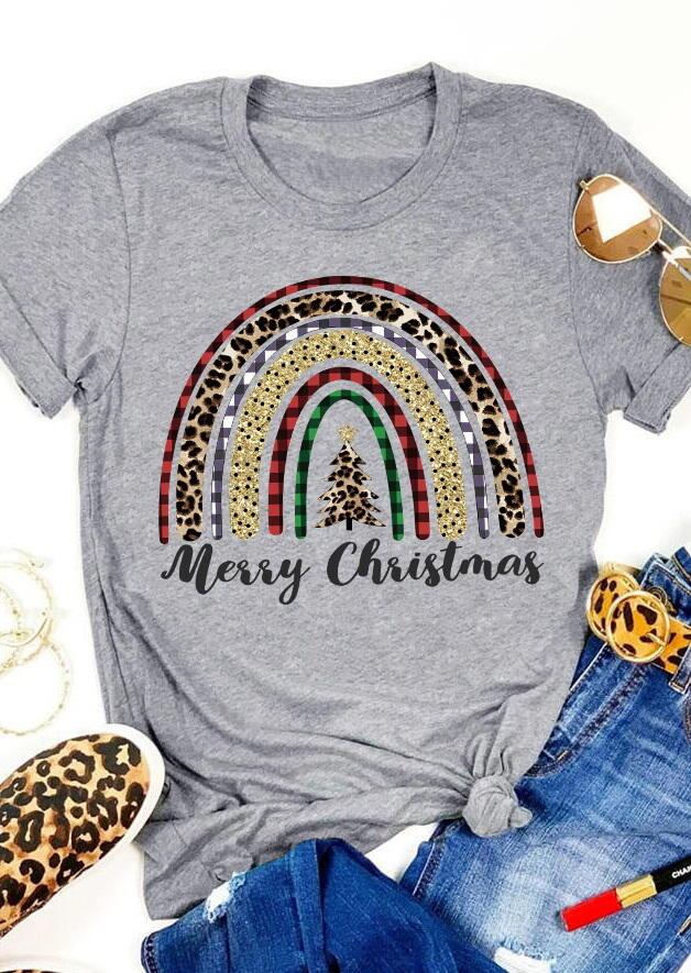 Merry Christmas Leopard Plaid Tree Rainbow T-Shirt Tee - Gray