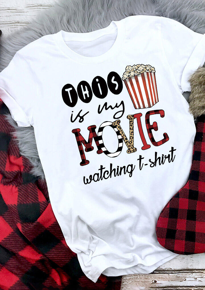 Leopard Plaid Striped This Is My Movie Watching T-Shirt Tee - White