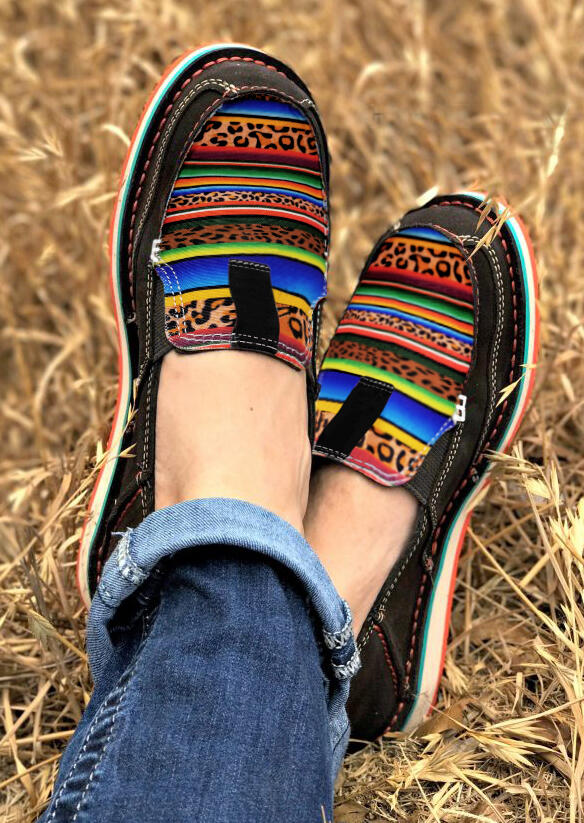 Fairyseason coupon: Leopard Serape Striped Slip On Flat Sneakers