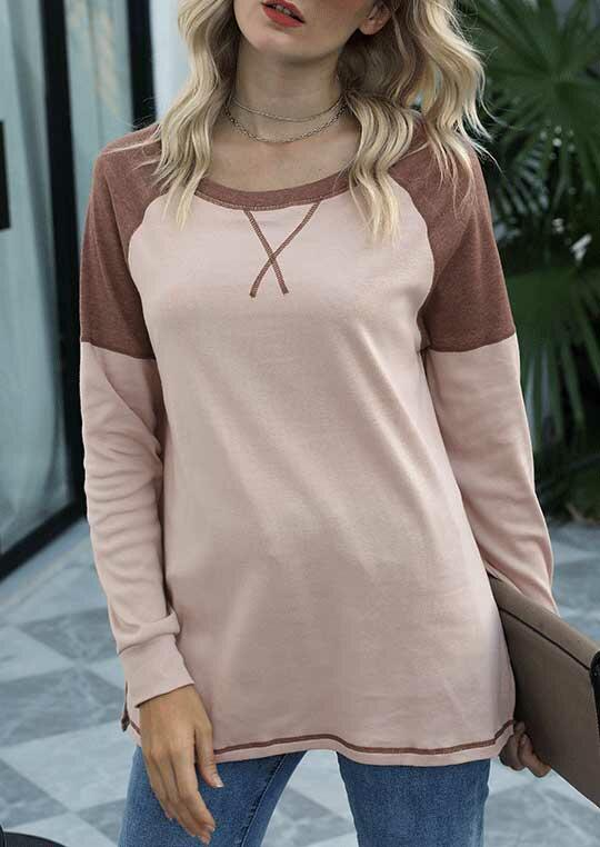 Color Block Slit O-Neck Long Sleeve Blouse - Apricot