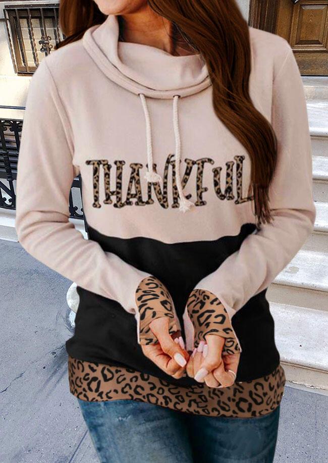 Thankful Leopard Color Block Drawstring Thumbhole Sweatshirt - Apricot