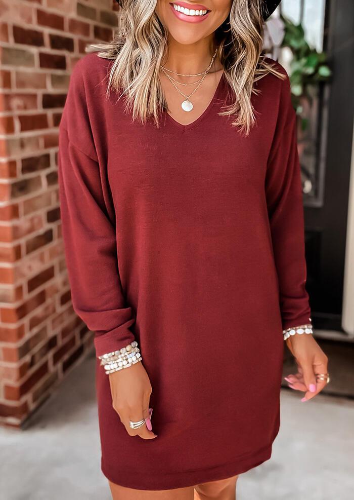 Fairyseason coupon: V-Neck Long Sleeve Mini Dress - Red