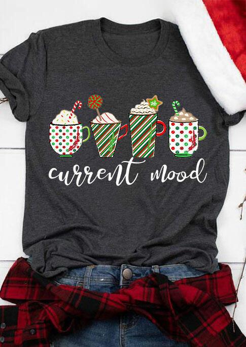 Fairyseason coupon: Striped Star Drink Current Mood T-Shirt Tee - Dark Grey