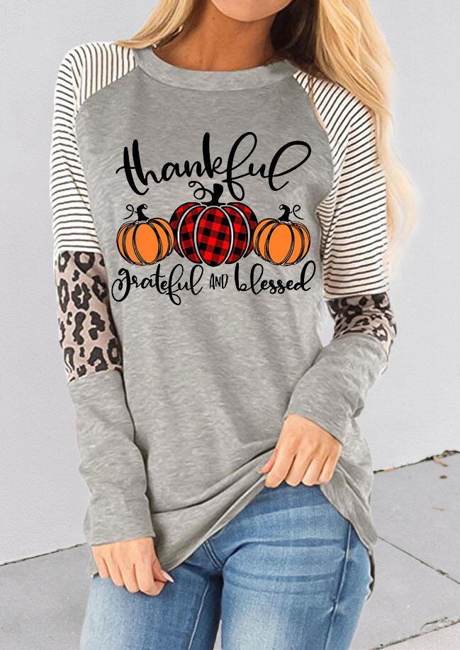 Fairyseason coupon: Thankful Striped Leopard Splicing Plaid Pumpkin Blouse - Gray