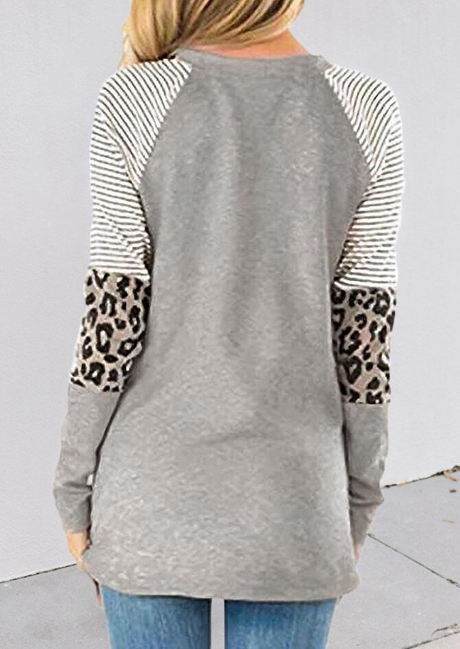 Thankful Striped Leopard Splicing Plaid Pumpkin Blouse - Gray