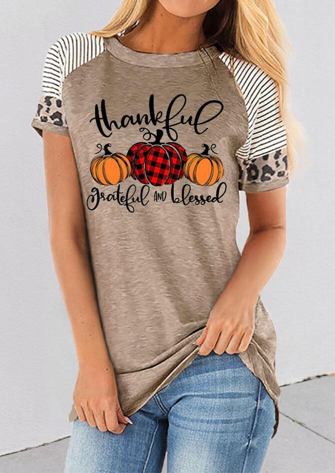 Thankful Striped Leopard Splicing Plaid Pumpkin T-Shirt Tee - Light Coffee