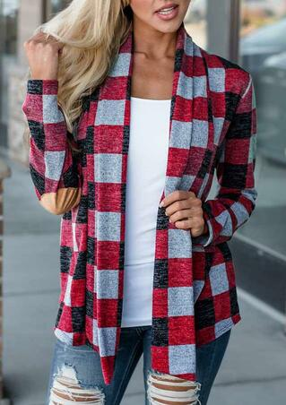 Plaid Elbow Patch Long Sleeve Open Front Cardigan